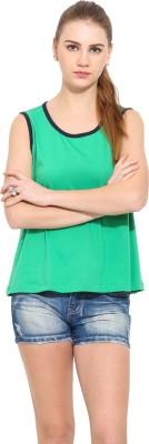 Sugar Her Solid Women's Round Neck Green T-Shirt