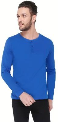 Dennis Lingo Solid Men's Round Neck Blue T-Shirt