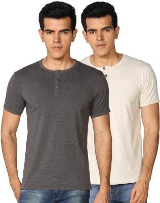 Provogue Solid Men's Round Neck Grey, Beige T-Shirt