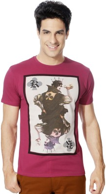 Van Heusen Graphic Print Men's Round Neck Pink T-Shirt