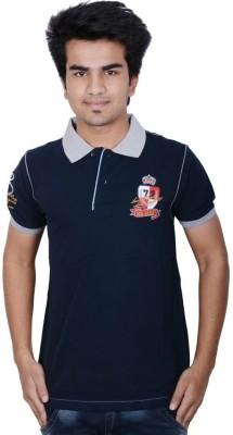Being Dessi Solid Men's Flap Collar Neck Dark Blue T-Shirt