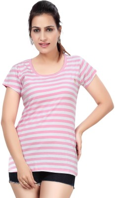 Comix Striped Women's Round Neck Pink T-Shirt