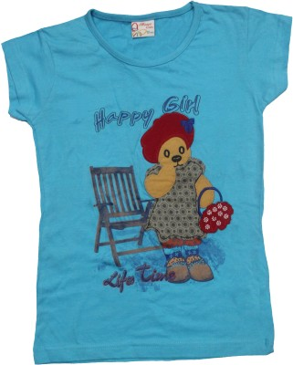 Mankoose Printed Girl's Round Neck Blue T-Shirt
