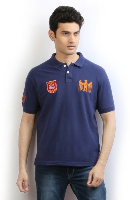 Ethane Solid Men's Polo Blue T-Shirt