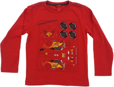 Kuddle Kid Graphic Print Boy's Round Neck Red T-Shirt