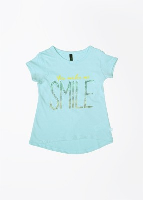 UCB Printed Girl's Round Neck Light Blue T-Shirt