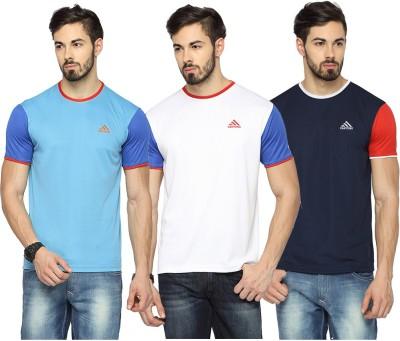 Canyons Solid Men's Round Neck Light Blue, White, Dark Blue T-Shirt