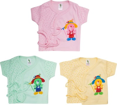 Cucumber Animal Print Baby Boy's Fashion Neck Light Green, Beige, Pink T-Shirt