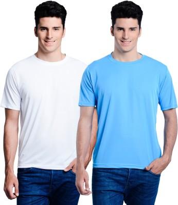 Superjoy Solid Men's Round Neck White, Light Blue T-Shirt