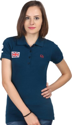 Oriel Merton Solid Women's Polo Dark Blue T-Shirt
