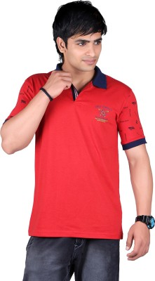ALF Solid, Striped Men's Polo Neck Red T-Shirt
