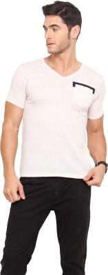 Northern Lights Solid Men's V-neck Beige T-Shirt