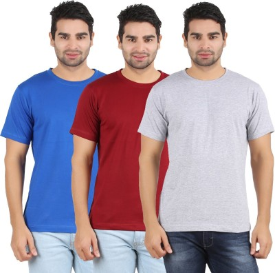 Heartin Beat Solid Men's Round Neck Maroon, Grey, Light Blue T-Shirt