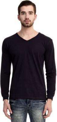 Mimoda Solid Men's V-neck Dark Blue T-Shirt