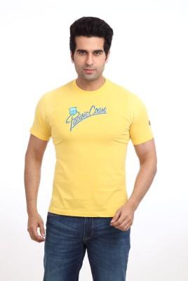 Parx Printed Men's Round Neck Yellow T-Shirt