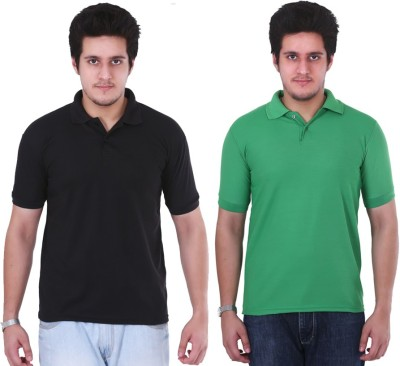 NGT Solid Men's Polo Neck Green, Black T-Shirt