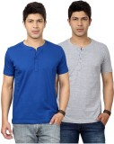 Top Notch Solid Men's Henley Blue, Grey ...