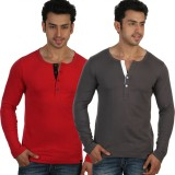 Rigo Solid Men's Henley Red, Grey T-Shir...