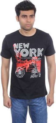 Studio Nexx Printed Men's Round Neck Black T-Shirt