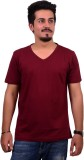 Ditto Solid Men's V-neck Maroon T-Shirt