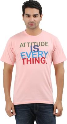 UV2 Printed Men's Round Neck Pink T-Shirt