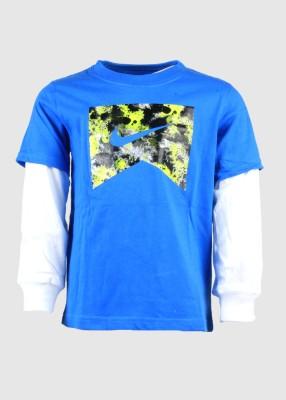 Nike Printed Boy's Round Neck Blue T-Shirt