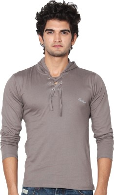 Amp Colors Solid Men's Hooded Grey T-Shirt