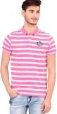 Bonaty Striped Men's Polo Neck Pink T-Sh...