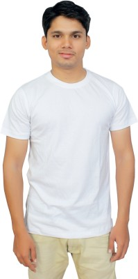 Megsto Solid Men's Round Neck White T-Shirt