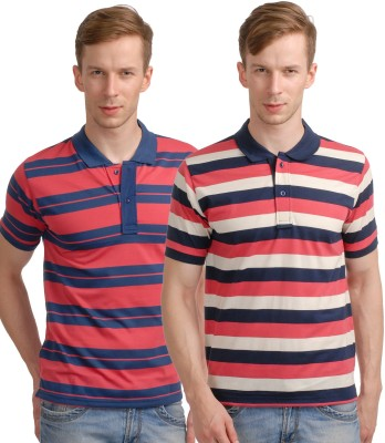 Superjoy Striped Men's Polo Neck Red, Pink T-Shirt