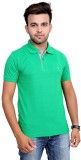 Port Solid Men's Polo Neck Green T-Shirt