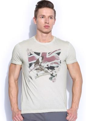 GAS Printed Men's Round Neck Beige T-Shirt