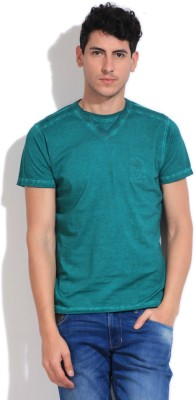 Pepe Solid Men's Round Neck Green T-Shirt