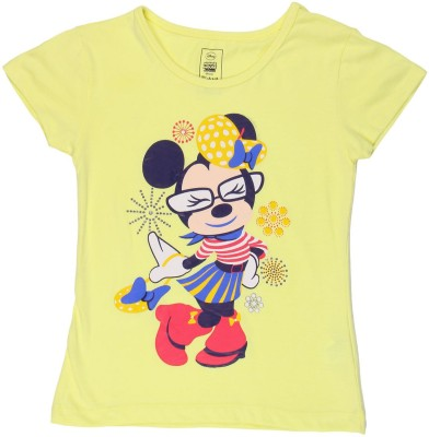 Chalk by Pantaloons Graphic Print Girl's Round Neck Yellow T-Shirt