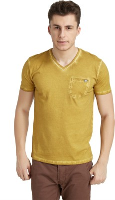 Breakbounce Solid Men's V-neck Yellow T-Shirt