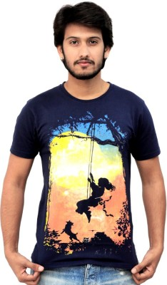 JUSTEES Graphic Print Men's Round Neck Blue T-Shirt