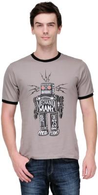 White Kalia Graphic Print Men,s Round Neck Grey T-Shirt