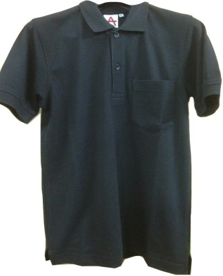 Athlet Solid Men's Flap Collar Neck Black T-Shirt
