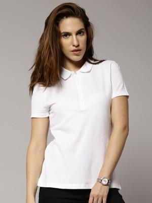 Marks & Spencer Solid Women's Polo Neck White T-Shirt