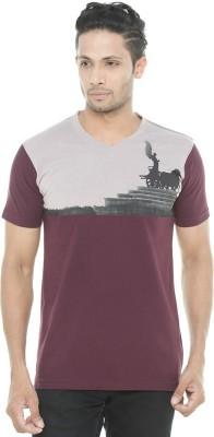 Wexford Printed Men's Round Neck Maroon T-Shirt