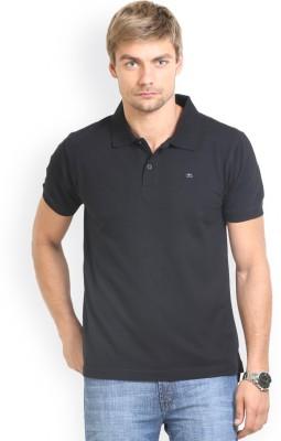 HW Solid Men,s Polo Neck Black T-Shirt