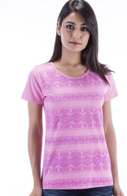 Peppermint Blues Printed Women,s Round Neck Pink T-Shirt