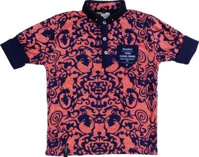 Pogo Floral Print Boy's Flap Collar Neck Pink T-Shirt