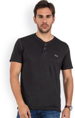 Blue Monkey Self Design Men's Henley Black T-Shirt