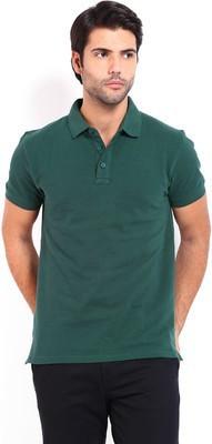 DoubleF Solid Men's Polo Neck Dark Green T-Shirt