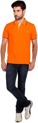 Attabouy Solid Men's Polo Neck Orange T-Shirt