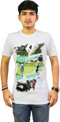 live green Printed Men,s, Boy's Round Neck White T-Shirt