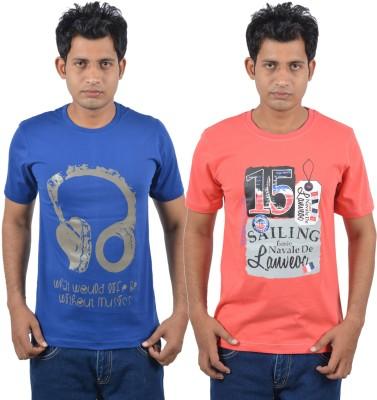Josh Button Solid Men's Round Neck Blue T-Shirt