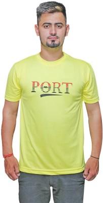 Port Solid Men's V-neck Yellow T-Shirt