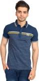 Urban Trail Striped Men's Polo Neck Blue...